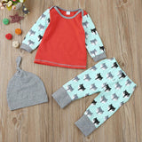 Cute Fox Baby Clothes Fox Print Blouse+Pants Cap 3pcs Outfit