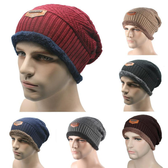 Winter Warm Men Beanie Gorras Bonnet Baggy Knitted Solid Hats