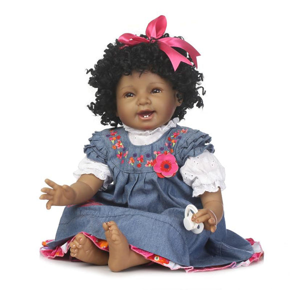 22inch 55cm Silicone Cotton Body Curly Hair Baby Reborn