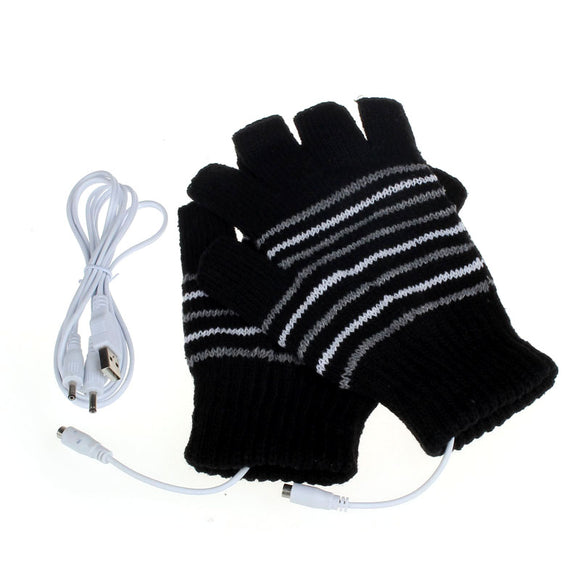 5V USB Powered Heating Winter Hand Warmer Washable Fingerless Gloves