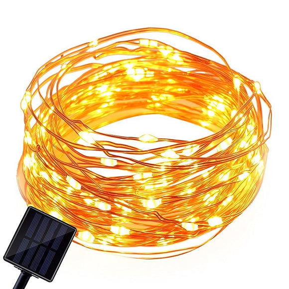 10M Solar Power String Light Waterproof LED Light Copper Wire Lamp Decoration