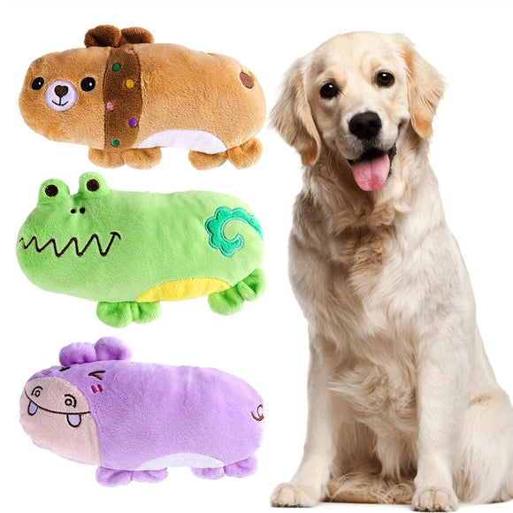 3pcs Pet Products Plush Squeaky Toys Dog Chew Toys Pet Cats Cute Biting Sound Animal Toys Hippo Bear Frog