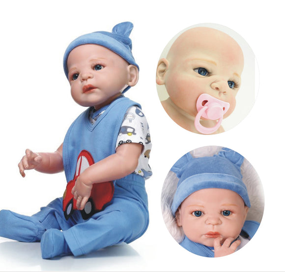 23 Inches/ 57cm Baby Boy Reborn Full Body Soft Vinyl Silicone Doll