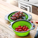 Foldable Silicone Colander Fruit Vegetable Washing Basket Strainer Collapsible Drainer