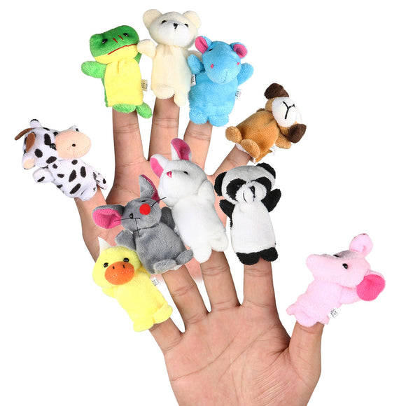 10pcs Cartoon Animal Finger Puppets Soft Velvet Dolls Props Toys