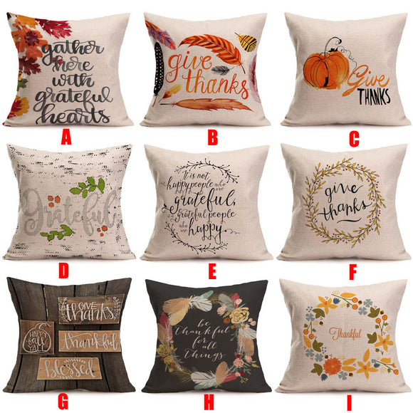 Pillow Case Pillow Cover Happy Fall Thanksgiving Day