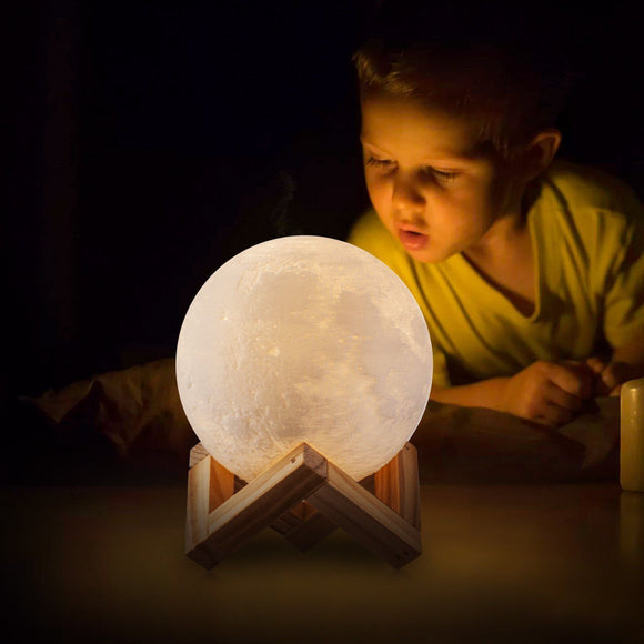 LED Night Light 3D Printing Moon Lamp Dimmable Touch Control USB Charging
