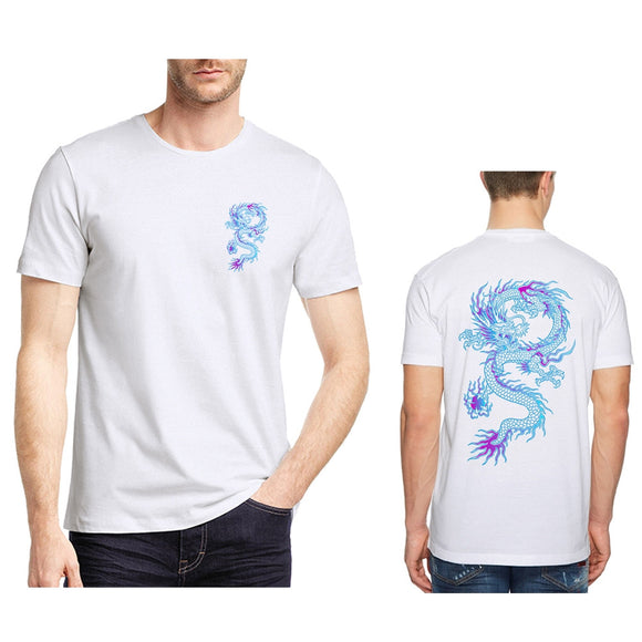 Men Cool T-shirt 3D Blue Dragon Print Short Sleeve Tops Tees Fashion Loose Shirt