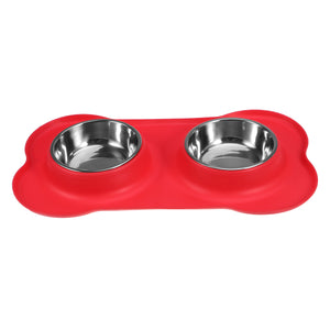 Double Stainless Steel Food and Water Dog Bowls with No Spill Non-Skid
