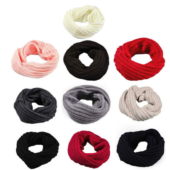 Knitted Circle Wool Scarf Shawl Wrap Winter Warm Collar Ring Scarves Loop