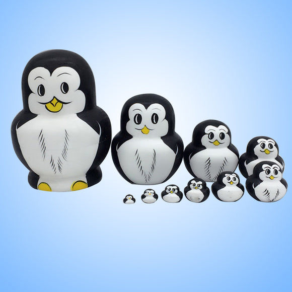 10 Pcs Cute Nesting Dolls Adorable Penguin Russian Stacking Dolls Collection Toy