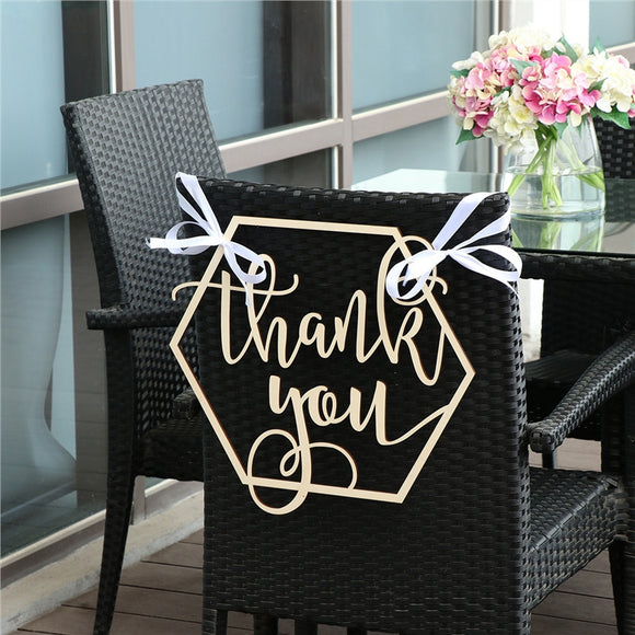 Hexagon Thank You Sign Photo Prop Wooden Photography Sign Party Decoration