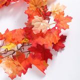 Maple Leaves Garland with LED Light Thanksgiving Autumn Fall Hanging Plant Vines Garland Door Wall Fence Decorations