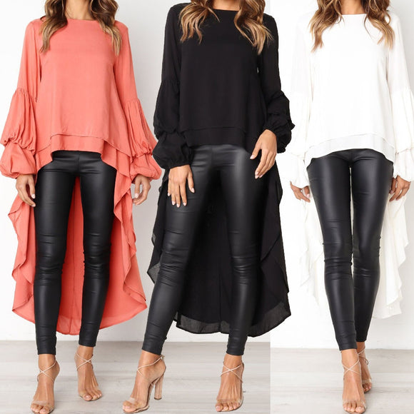 Women Chiffon Blouses Highstreet Style Irregular Ruffles Shirt Long Sleeve Pullovers