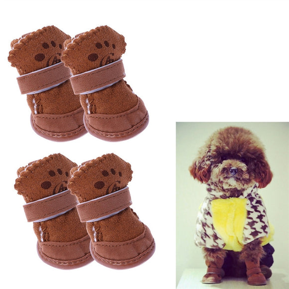 4pcs Cute Winter Pet Dog Puppy Casual Anti-Slip Soft Fleece Snow Boots Warm Dog Shoes Size M (Brown)