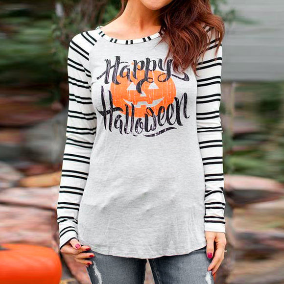 Women Happy Halloween Stripe Casual Print Blouse  Fashion Tops