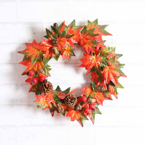 Beautiful Wreath Decoration Pine Fruit Maple Leaf Fall Door Wreath Door Wall Ornament