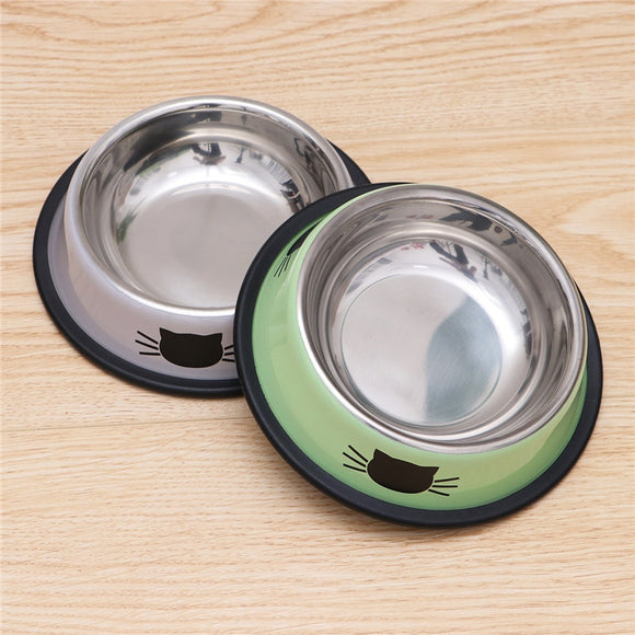 2pcs Stainless Steel Cat Bowl for Dish Water Pet Kitten Cat Feeder