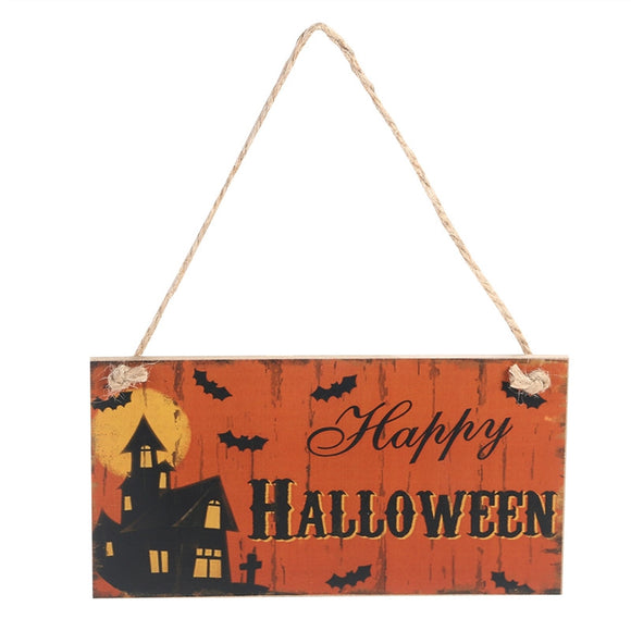 Happy Halloween Rectangle Hanging Wall Sign Decoration
