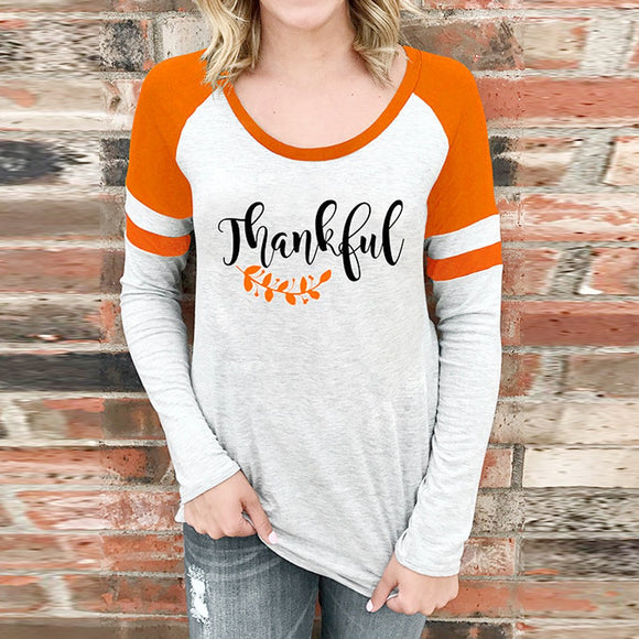Womens  Blouse Fashion Thankful Grateful Blessed Baseball T-Shirt