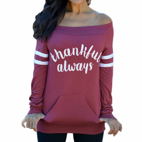 Womens Happy Thanksgiving Day Fashion Long Sleeve T-Shirt