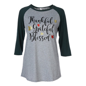 Women Ladies Plus Size Long Sleeve Thanksgiving Blouse Tops Patchwork T Shirt