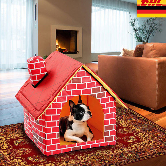 Detachable Portable Brick Pet Dog House with Chimney Cat Bed Designed