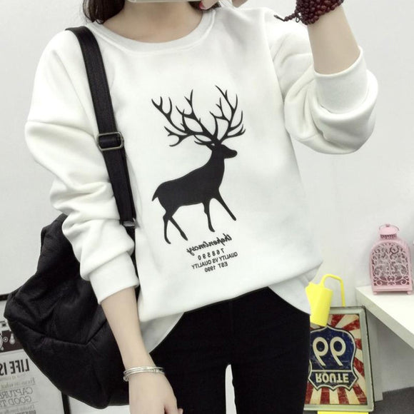 Women Long Sleeve Christmas Print Deer Casual Sweatshirt Pullover Tops Blouse