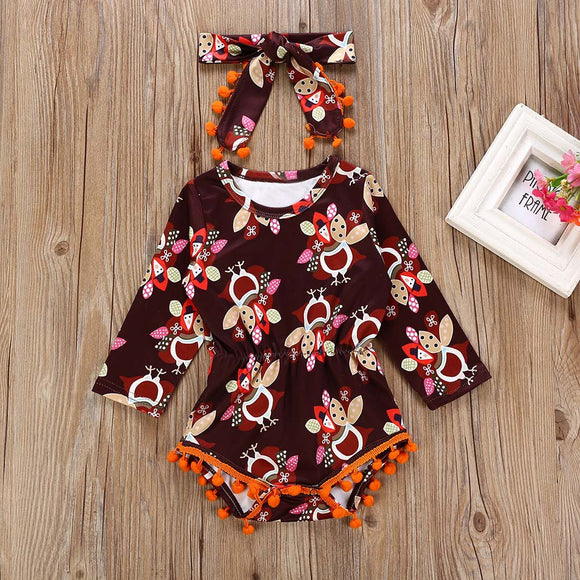 Infant Baby Thanksgiving Day Clothes Turkey Print Romper