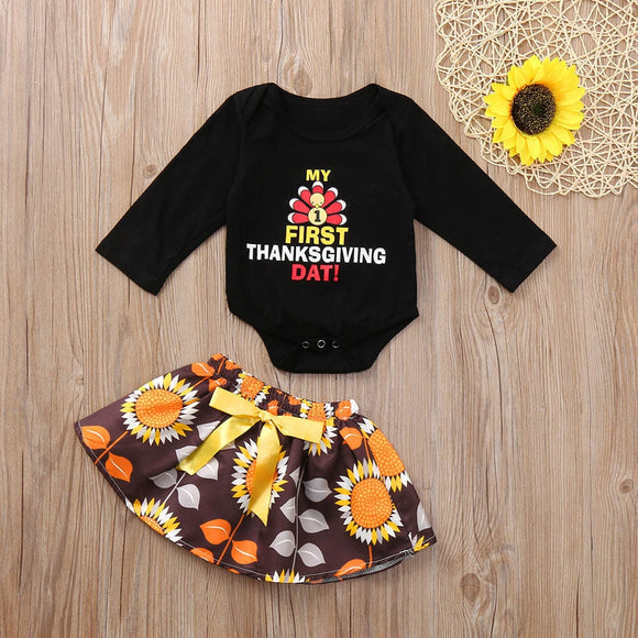Exquisite Infant Baby Cloth First Thanksgiving Day Costumes Turkey Letter Print Romper