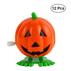 12pcs Halloween Wind-up Jumping Smile Face Pumpkins