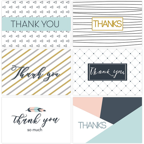 30PCS Thank You Cards Set Greeting Cards Notes With Kraft Envelopes