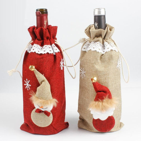 Christmas Decorations Snow Man Wine Bottle Cover Bags Dinner Party Gift Red
