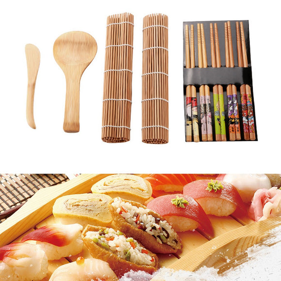 13pcs/set Bamboo Sushi Making Kit Family Office Party Homemade Sushi Gadget For Food Lovers