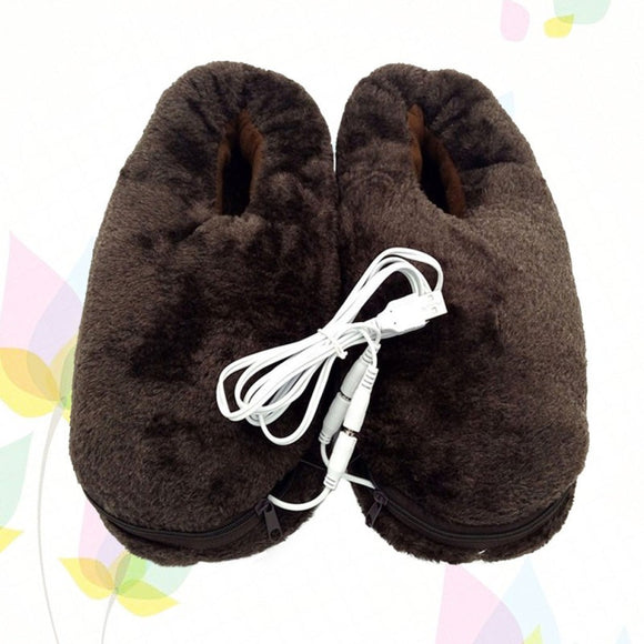 1 Pair of Warm Keeping Soft Plush USB Heating Slippers Electric Heated Up Winter Shoes