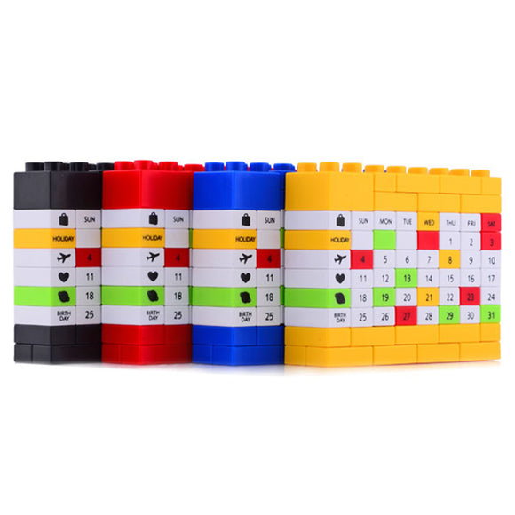 DIY Bricks Perpetual Puzzle Calendar with 4 Colors For Christmas/New Year/ Birthday Gift