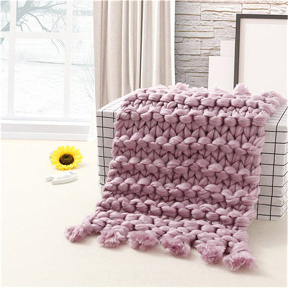 Knitted Blanket Hand Chunky Knitted Blanket Warn Thick Wool Bulky Knitting Throw Crochet