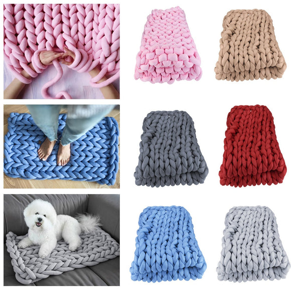 50x50cm Warm Soft Handmade Chunky Arm Knitted Blanket Cotton Thick Line Home Decor Knitted Blanket