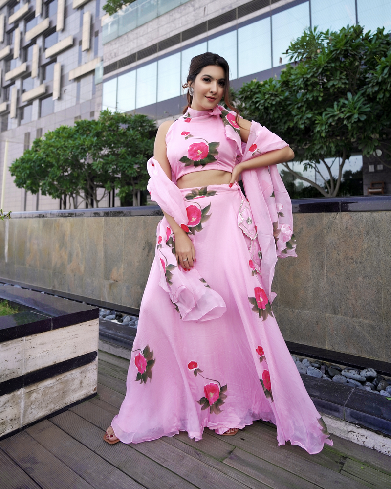Rose Pink Handpainted Organza lehenga Set