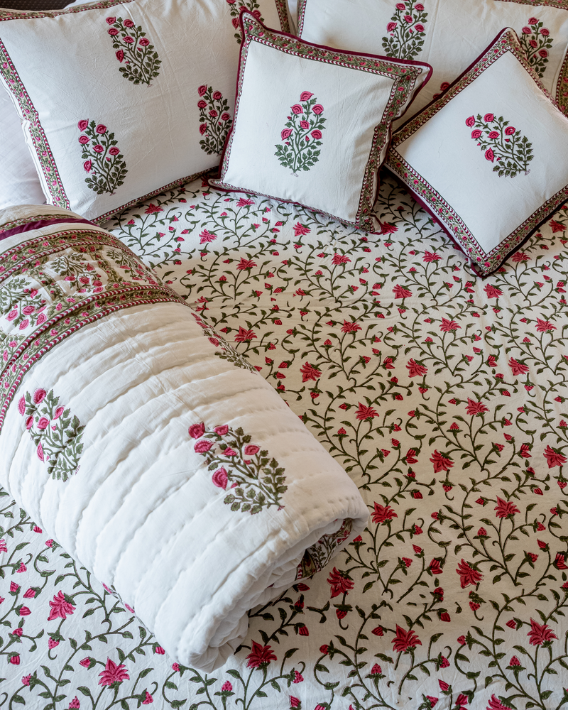White Smoke Handblock Printed Bedding Set