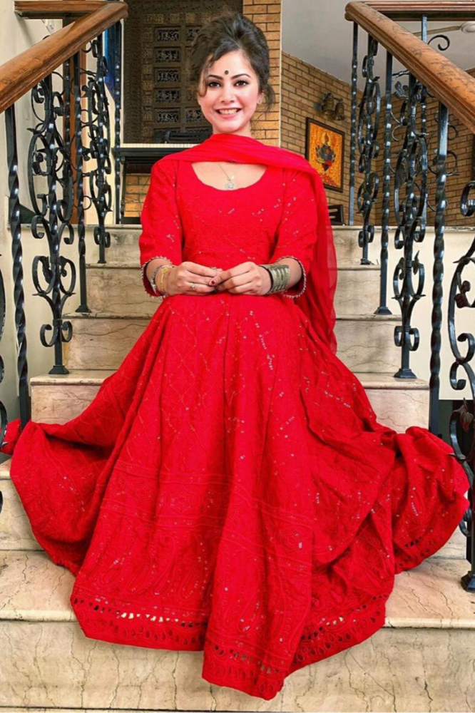 Red Chikankari Anarkali Set