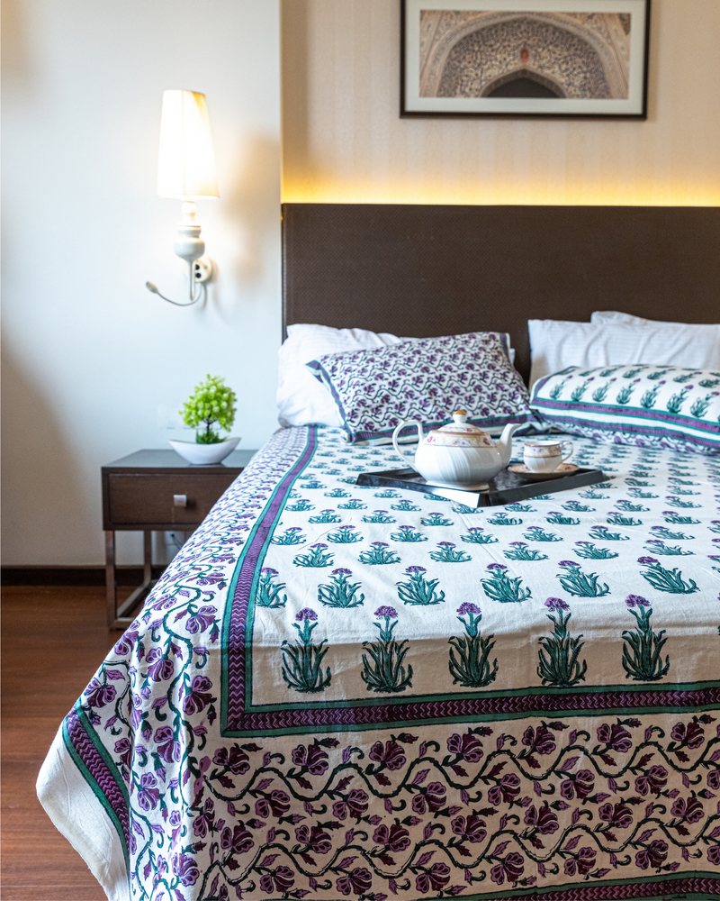 Gilly Flower Handblock Printed Bedding Set