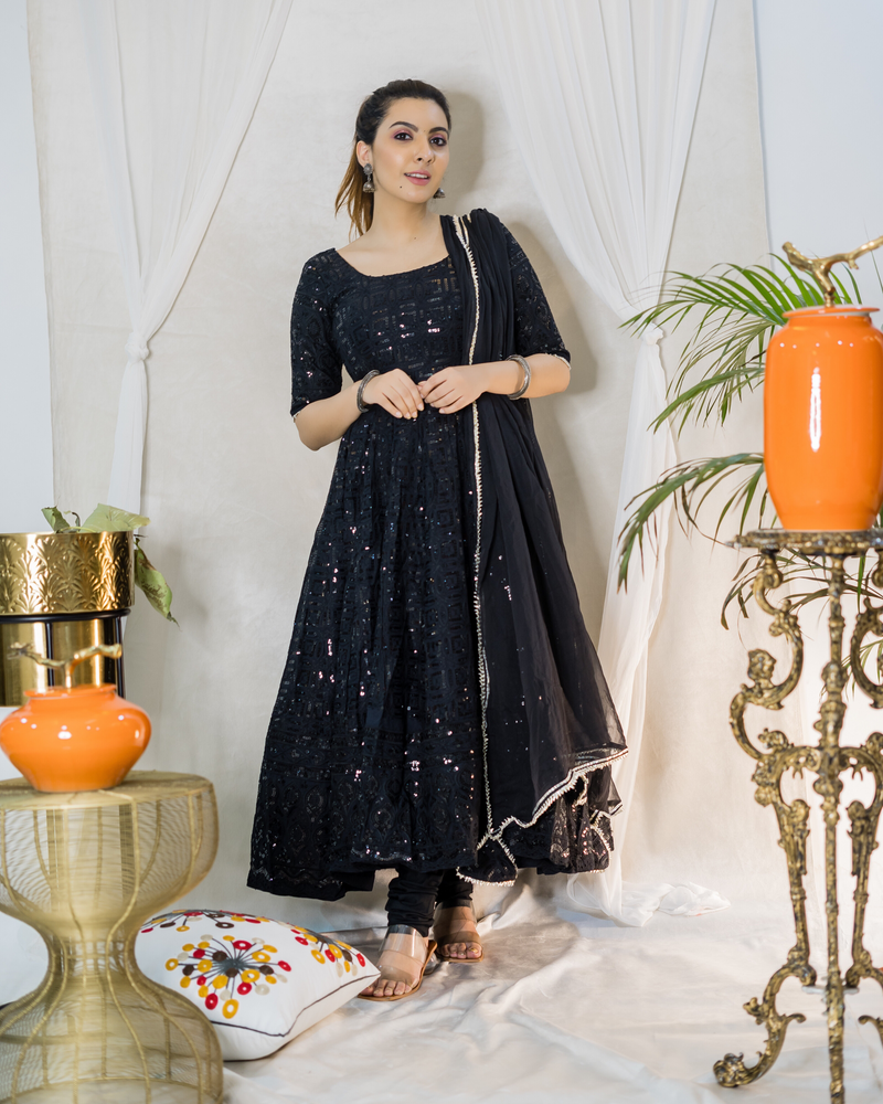 Blackbird Chikankari Anarkali Set