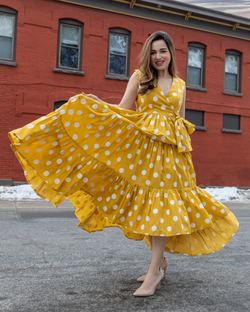 Yellow Daffy Polka Cotton Dress
