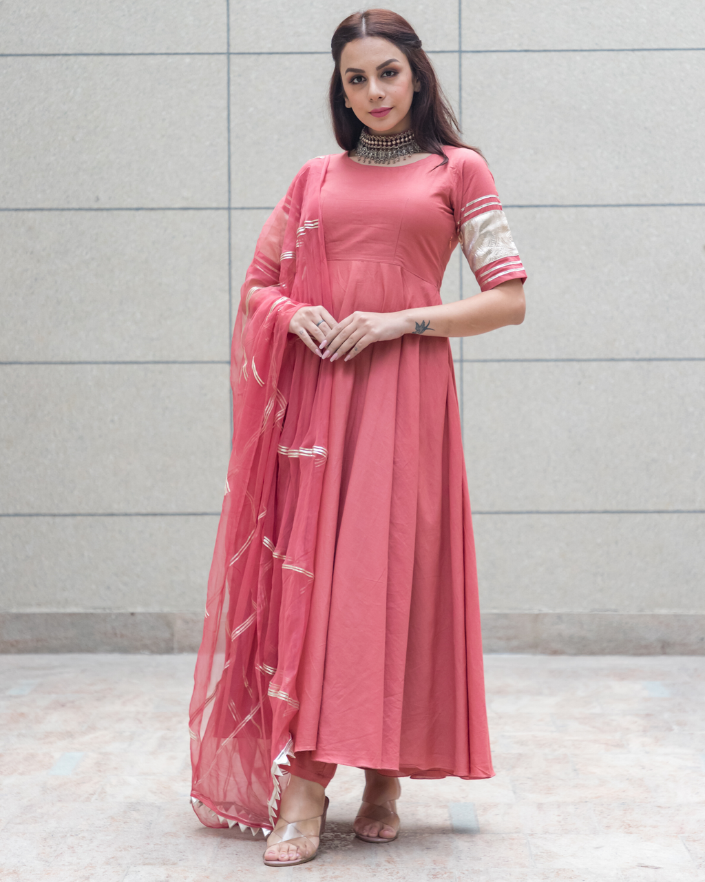 Peach Gotapatti Cotton Suit Set