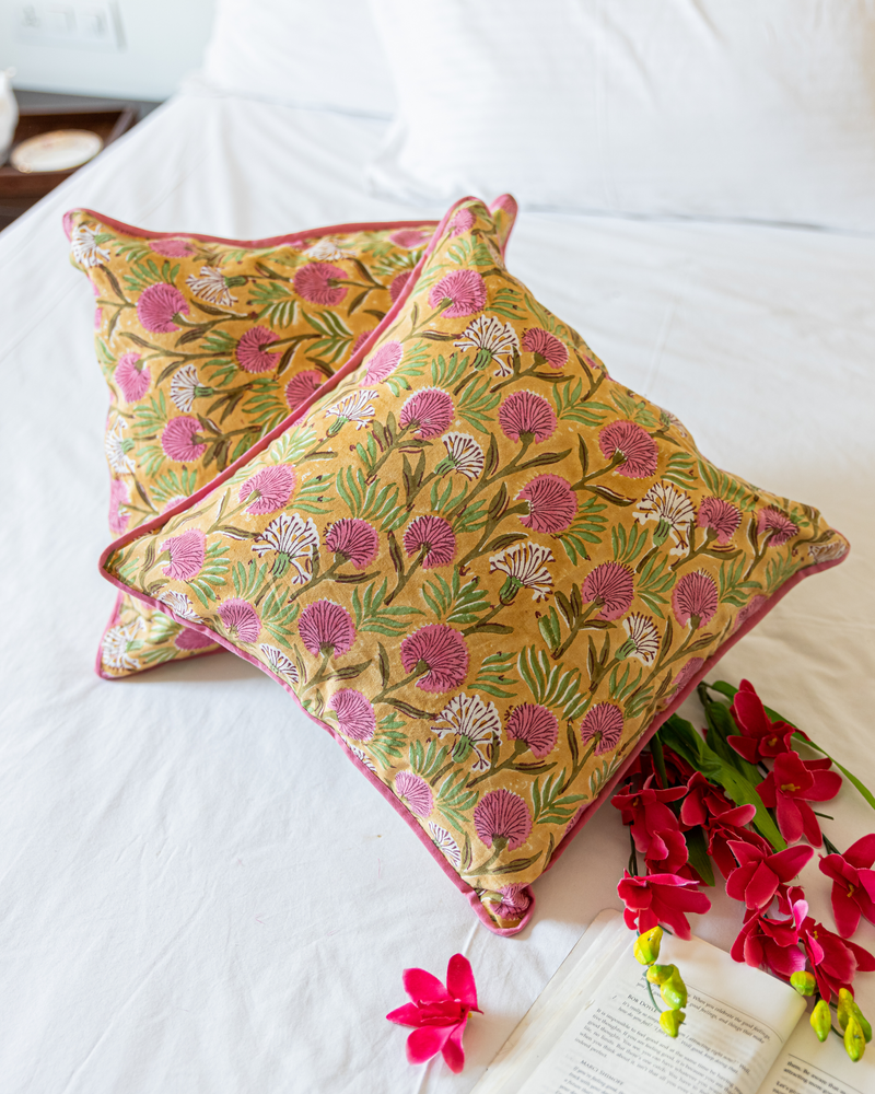 Gold Dust Handblock Cushion Cover