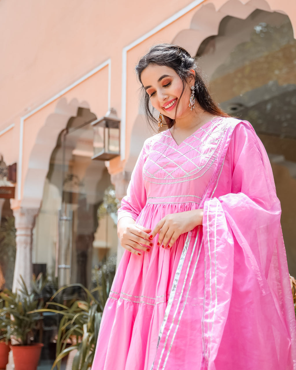 Pink Pearl Gotapatti Suit set