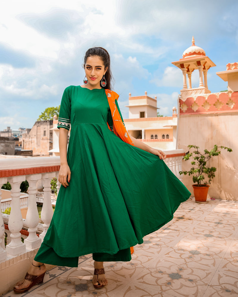 Graceful Green Gotapatti Suit Set