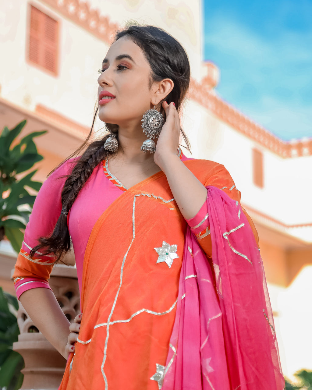 Pink Orange Gotapatti Suit Set