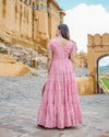 Pink Tiered Cotton Dress